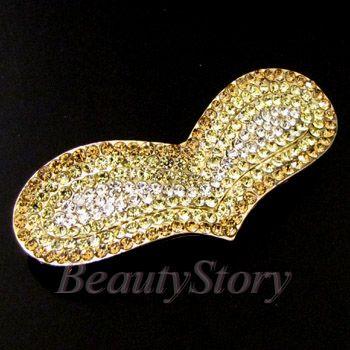 Item  rhinestone crystal heart hair barrette clip wedding