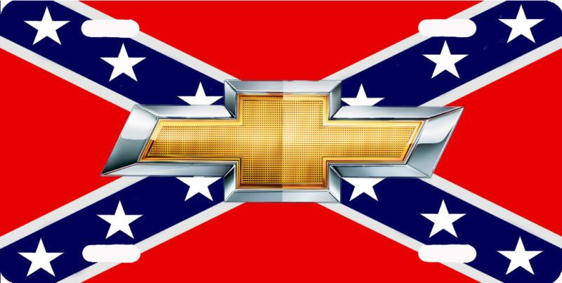 C1705 Chevy Logo On Confederate Flag License Plate