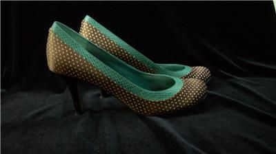womens STEVE MADDEN shoes/heels/pumps 7 P Lonnie brown/wht polka Free