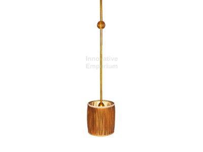 Antique Gold Pendant 1 Light Lamp Shade Fabric Vintage Hanging Kitchen