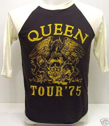 QUEEN 1975 Concert Tour VTG Rock 3/4 Jersey T Shirt L