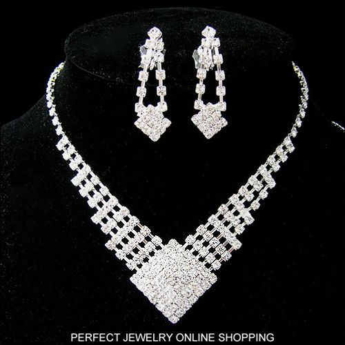Wedding/Bridal crystal necklace earrings ring set S002