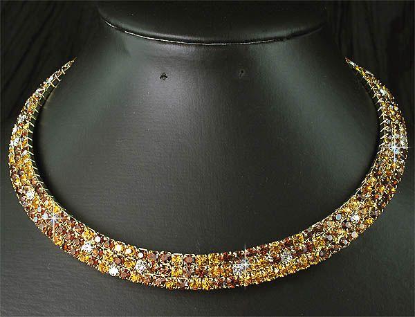 Piece Set Wedding Bridal Bridesmaids Crystal Golden Choker Necklace